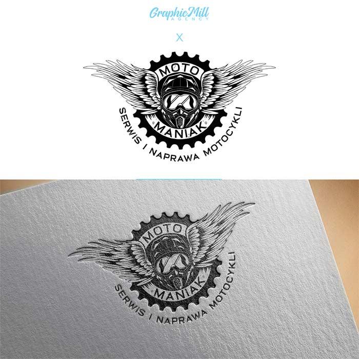 Logo firmowe motomaniak sklep i serwis motocykli