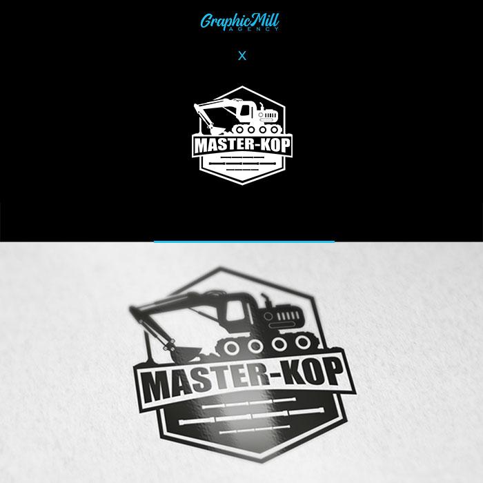 Logo firmy Master kop usługi minikoparką nowoczesne logo emblemat